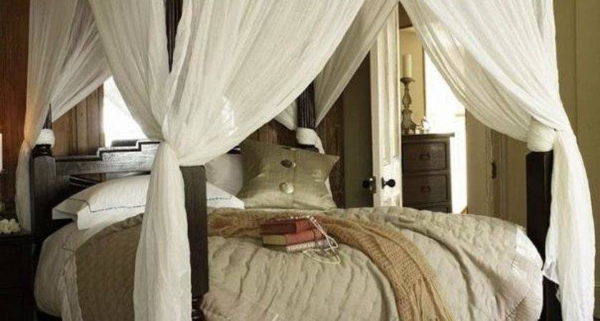 Wooden Canopy Bed White Curtains Wonderful