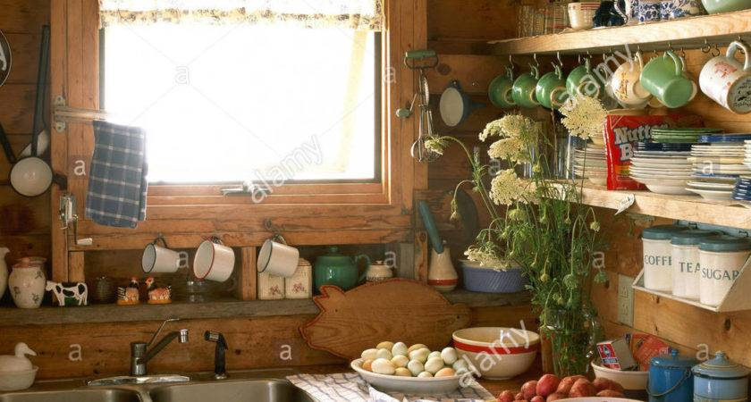 Wooden Country Kitchen Eggs Fruit