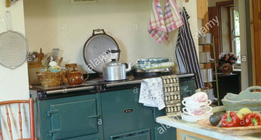 Wooden Shelf Above Green Aga Traditional Country
