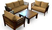 Wooden Sofa Set Seater Coffee Table Furny
