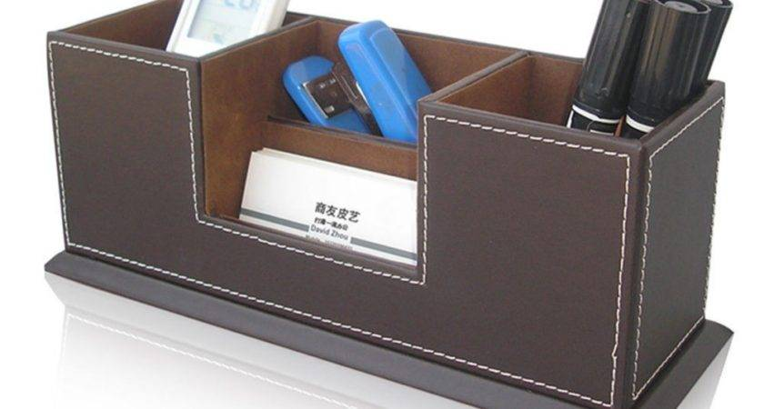 Wooden Structure Leather Surface Desk Multi Function